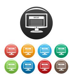 Digital tax report icons set color vector