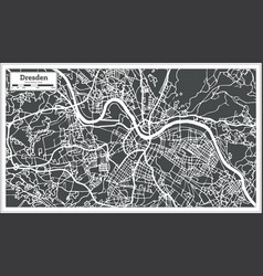 Dresden germany city map in retro style outline vector
