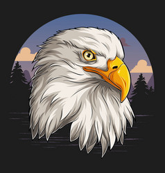 Eagle head with american flag pattern vector