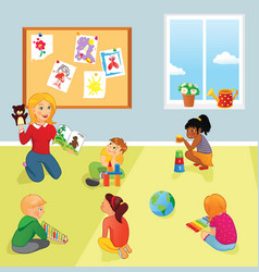 Elementary school class teacher and kids vector
