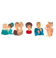 Family characters kissing set vector