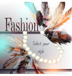 feathers and pearls select your style vector image