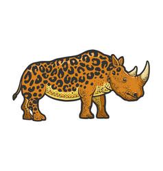 Fictional animal rhinoceros leopard sketch vector