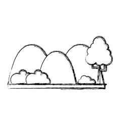 Figure countains with tree and ecology landscape vector