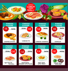 Finnish cuisine menu price cards template vector