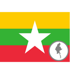 Flag and map myanmar vector