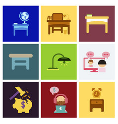 flat business office furniture icons vector image
