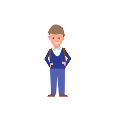 flat style education with boy student isolated on vector image