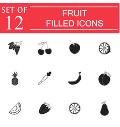 Fruits solid icon set organic vegetarian food vector
