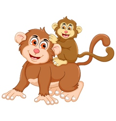 funny monkey cartoon with her baby vector image