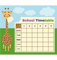 Giraffe timetable vector