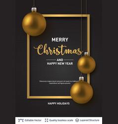golden shiny christmas balls on dark background vector image