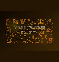 halloween party line colorful horizontal vector image