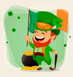 happy saint patricks day funny leprechaun vector image