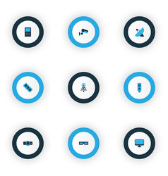 hardware icons colored set with router vector image