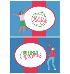 holidays merry christmas greeting and celebration vector image