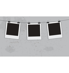 Instant photos with clips in grunge background vector