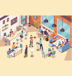 interior view on people working and having lunch vector image