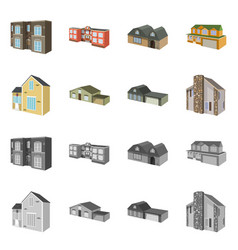 isolated object of facade and housing icon vector image