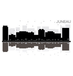 Juneau city skyline black and white silhouette vector