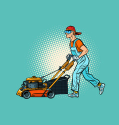 Lawn mower worker profession and service vector