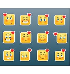 Love smile stickers set vector