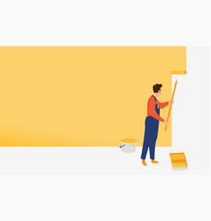 man painting a wall with roller concept on home vector image