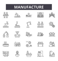 Manufacture line icons signs set linear vector