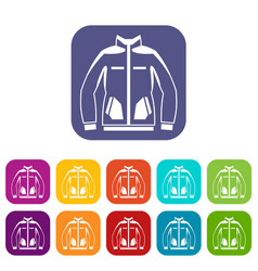 Men winter jacket icons set vector