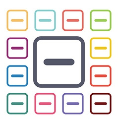 Minus flat icons set vector