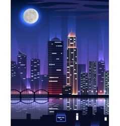 Night City Megapolis High Skyscrapers vector