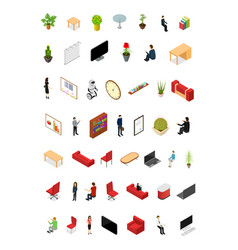 office interior concept icons set 3d isometric vector image