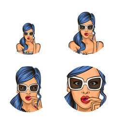 Pop art social network user avatars of vector