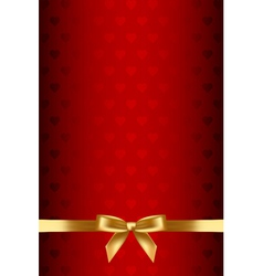 red background with hearts and gold bow vector image