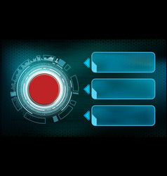 Red futuristic switch button with frame vector