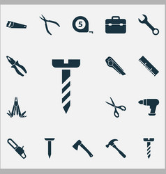 repair icons set with ruler meter shears and vector image