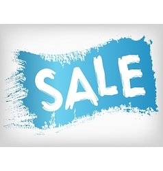 Sale promotion on blue painted grunge brush stain vector image