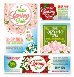 Sale tags banners posters spring discount vector