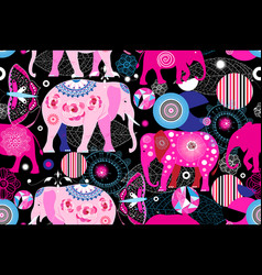 seamless bright ornamental pattern elephants vector image