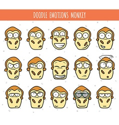 Set 15 doodle heads of monkeys with different vector image