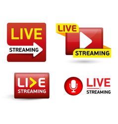 set button - live stream concept red symbol vector image