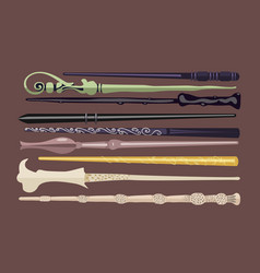 set of 9 different magic wands for witches and vector image