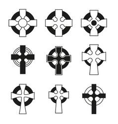 Set of celtic crosses for religious design vector