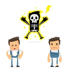 set of funny cartoon mechanic vector image
