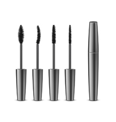 Set of opened black mascara in tube with brushes vector