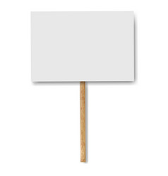 Sign banners on wood stick white background vector