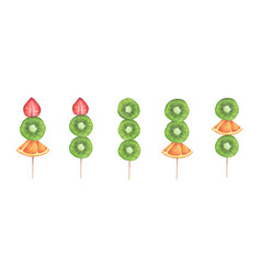 Slices strawberry kiwi and orange on a stick vector