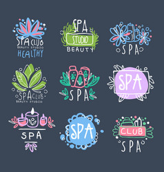 spa beauty studio logo design set badge for vector image