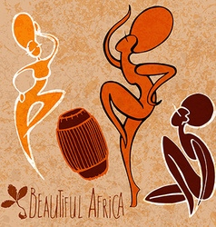 Stylized dancing African girl vector image