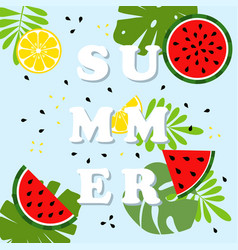 Summer card with fruits vector